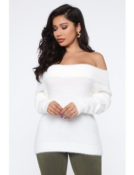 Taylor Fuzzy Off Shoulder Sweater   White by Fashion Nova
