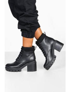 Lace Up Chunky Platform Hiker Boots by Boohoo