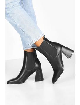Flare Block Heel Chelsea Boots by Boohoo