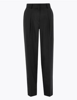 Wool Silk Slim Tapered Trousers by Marks & Spencer