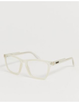 Quay Australia Hardwire Square Blue Light Lens Glasses In Beige by Quay Eyeware