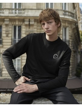 Black Wool T Shirt With Long Sleeves by The Kooples
