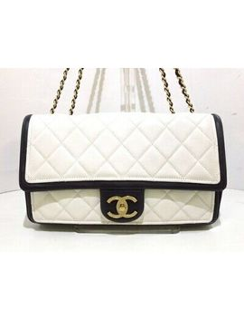 Auth Chanel Matelasse White Black Lambskin Shoulder Bag by Chanel