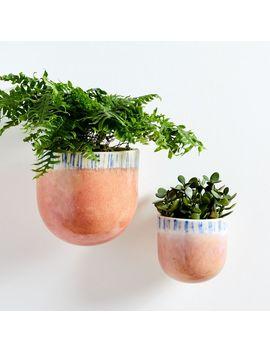 Ceramic Wallscape Planters   Reactive Glaze (Pink) by West Elm