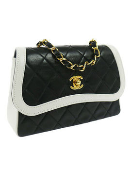 Authentic Chanel Quilted Chain Shoulder Bag Black White Bicolor Vintage Nr11698f by Chanel