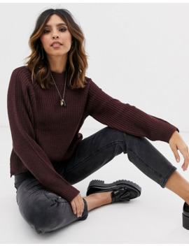 Y.A.S Chunky Knit Jumper In Burgundy by Y.A.S