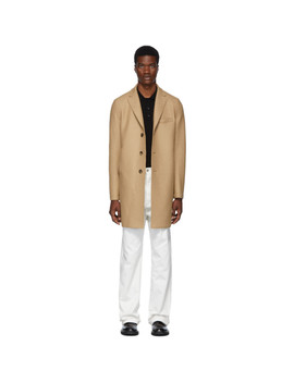 Tan Pressed Boxy Coat by Harris Wharf London