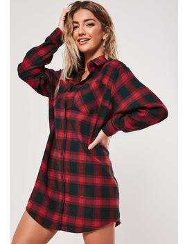 Red Oversized Plaid Shirt Dress by Missguided
