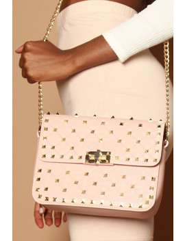 Val Studded Handbag In Pink Vegan Leather by Luxe To Kill