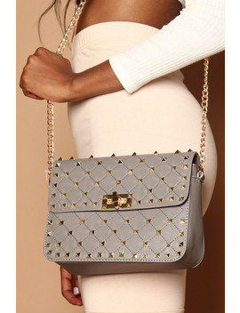 Val Studded Handbag In Grey Vegan Leather by Luxe To Kill