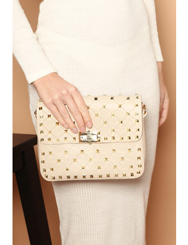 Val Studded Handbag In Beige Vegan Leather by Luxe To Kill