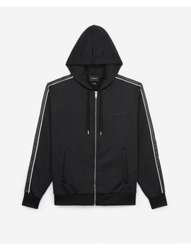 Black Zipped Hoodie With Leather Stripe by The Kooples