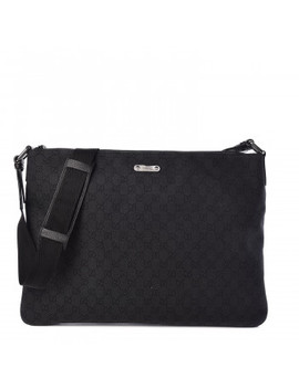 Gucci Denim Monogram Messenger Bag Black by Gucci