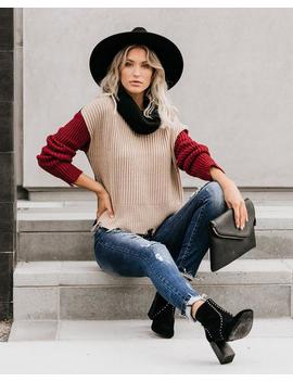 Karson Colorblock Distressed Cowl Neck Sweater by Vici