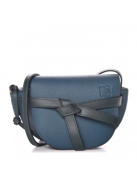 Loewe Grained Calfskin Mini Gate Crossbody Bag Petroleum Blue Cypress by Loewe