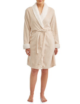 Blue Star Clothing Women's 3/4 Length Plush Body Robe With Sherpa Trim Collar by Blue Star Clothing Company