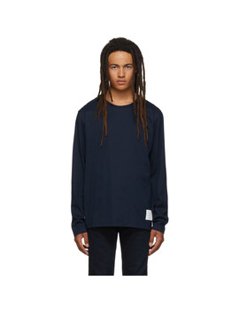 Navy Relaxed Fit Long Sleeve T Shirt by Thom Browne