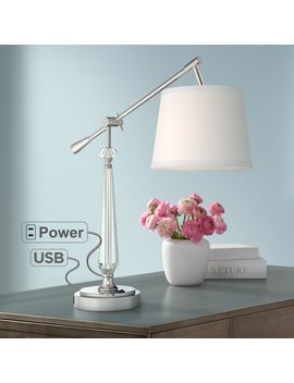 Clarita Crystal Boom Arm Desk Lamp With Usb Port And Outlet by Lamps Plus