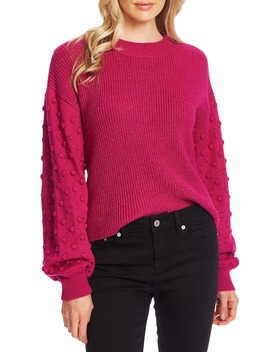 Puff Sleeve Bobble Ribbed Sweater by Cece