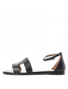 Hermes Calfskin Santorini Sandals 41 Black by Hermes