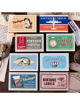 60pcs/Box Vintage Girl/Airmail Letter/Grocery Poster/Border Label/Ticket/Tag Decoration Sticker Diy Diary Scrapbooking Sticker by Ali Express.Com