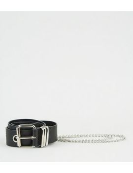 Black Eyelet Chain Hip Belt by New Look