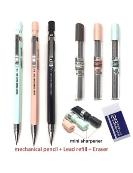 3 Pcs/ Lot School Supplies Multifunctional Mechanical Drawing Pencil With 2 B 2.0 Mm Lead Holder Eraser Pencil Sharpener Color:Random  by Wish