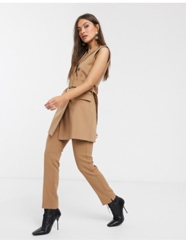 Stradivarius Tri Set Double Breasted Waistcoat With Belt In Camel by Stradivarius'