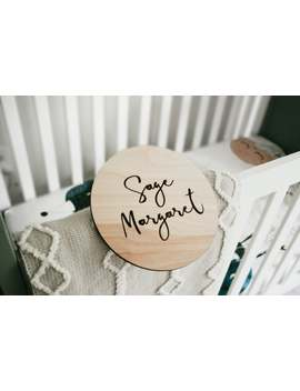 Engraved Baby Name Sign | Wooden Baby Name Round | Newborn Announcement | Name Announcement by Etsy
