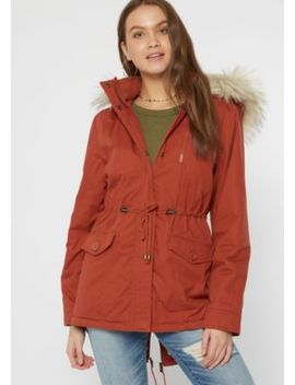 Orange Sherpa Utility Fur Lined Anorak Coat by Rue21