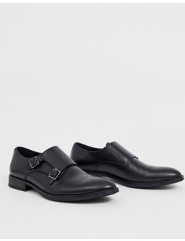 Office Monk Shoes In Black Leather by Asos