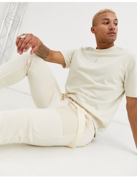 Asos Design Skinny Jersey Sweatpants With Straps In Off White Utility by Asos Design