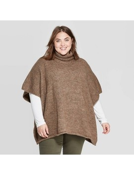 Women's Rolled Edge Poncho   Universal Thread™ Brown One Size by Universal Thread