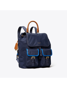 Perry Nylon Color Block Flap Backpack by Tory Burch