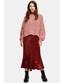 Red Heart Satin Flounce Midi Skirt by Topshop