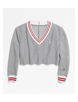 Champion Reverse Weave Oxford Grey Cropped V Neck Sweatshirt by Zumiez