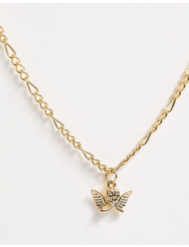 Asos Design Necklace With Cherub Pendant In Gold Tone by Asos Design