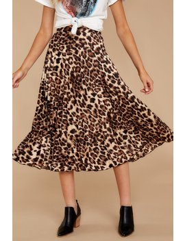 Act Wildly Leopard Print Midi Skirt by Something Pretty Collection