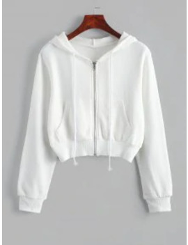 New Zip Up Pockets Crop Drawstring Hoodie   White Xl by Zaful
