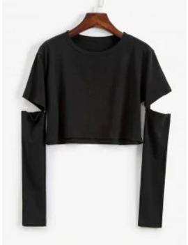 New Buttoned Cut Out Solid Crop Tee   Black M by Zaful