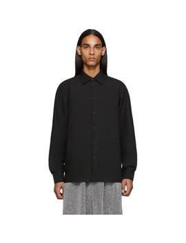 Black Raglan Sleeve Button Up Shirt by Random Identities