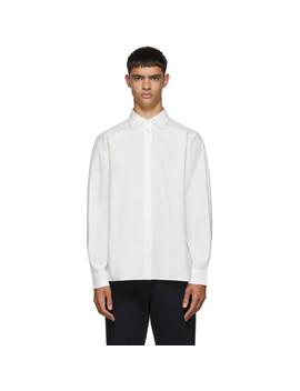 White Raglan Sleeve Button Up Shirt by Random Identities