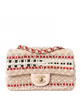 Chanel Cotton Raffia Lambskin Woven Mini Rectangular Flap Beige Red Black by Chanel