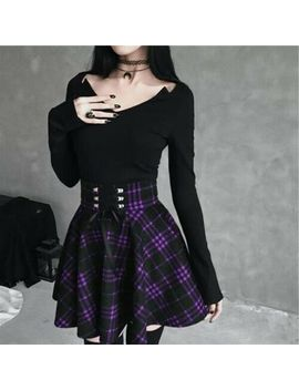 Women Gothic Sweet Lolita Dress Lace Up Mini Skirt Plaid Ball Gown Aline Pleated by Ebay Seller