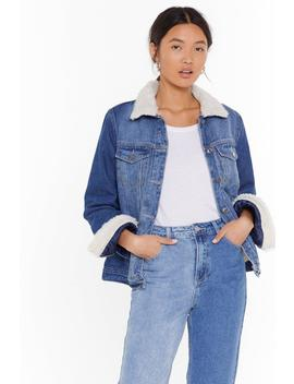 Fur Ever In Blue Jeans Faux Fur Denim Jacket by Nasty Gal