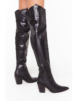 Pu Croc Otk Block Heel Boots by Nasty Gal