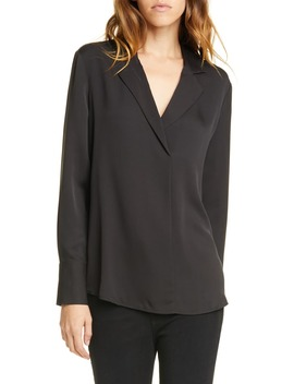 Notch Collar Silk Blouse by Frame