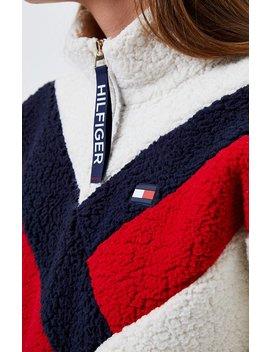 Tommy Hilfiger Chevron Half Zip Sherpa Sweatshirt by Pacsun