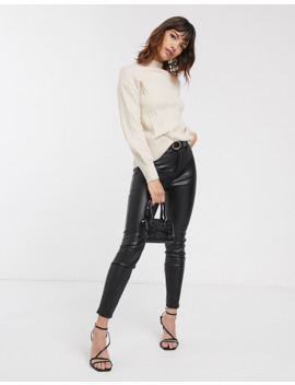 warehouse-ribbed-jumper-with-funnel-neck-in-cream by warehouse