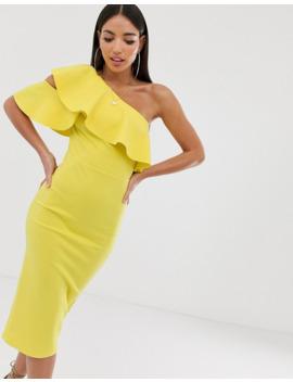 Asos Design Tall One Shoulder Ruffle Detail Midi Dress by Asos Design